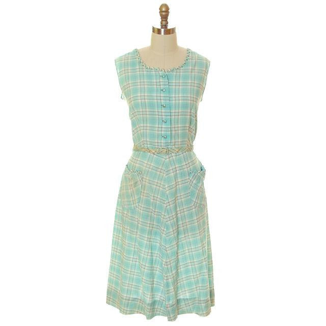 Vintage Housedress Pale Blue Plaid 1950s Cotton Medium - The Best Vintage Clothing  - 1