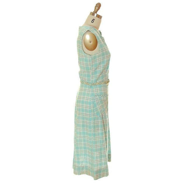 Vintage Housedress Pale Blue Plaid 1950s Cotton Medium - The Best Vintage Clothing  - 2