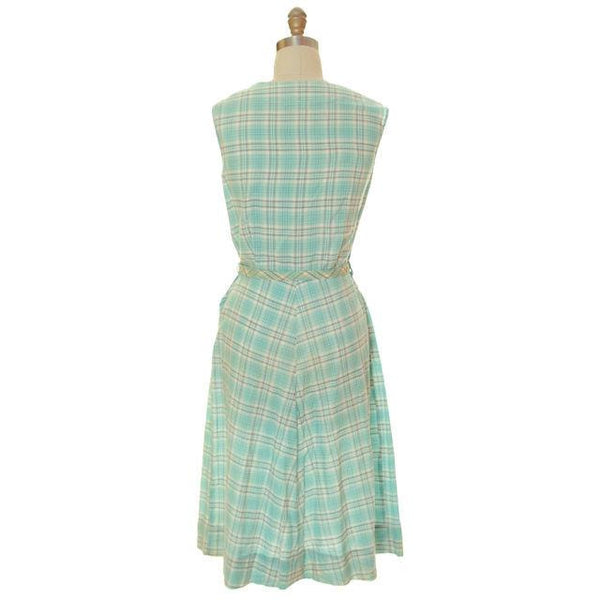Vintage Housedress Pale Blue Plaid 1950s Cotton Medium - The Best Vintage Clothing  - 3