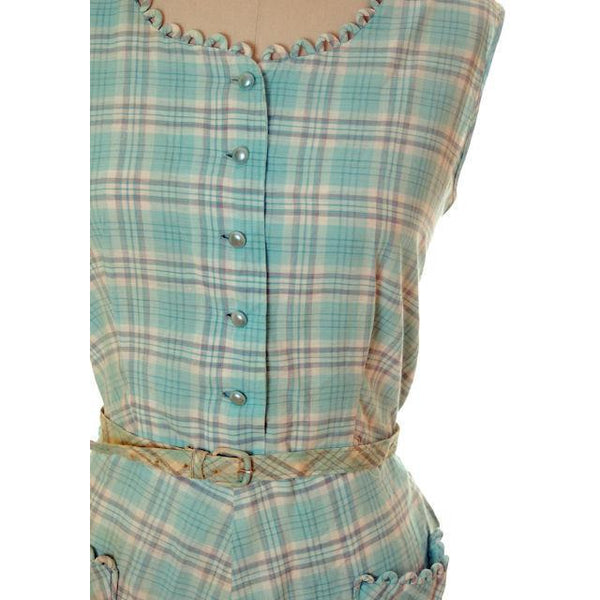 Vintage Housedress Pale Blue Plaid 1950s Cotton Medium - The Best Vintage Clothing  - 4