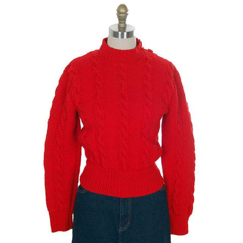 Vintage  Sweater Red Handknit Cable Knit Wool Great Buttons 1940s 36 Bust