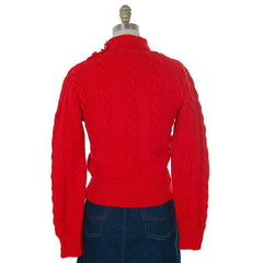 Vintage  Sweater Red Handknit Cable Knit Wool Great Buttons 1940s 36 Bust - The Best Vintage Clothing  - 2