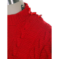Vintage  Sweater Red Handknit Cable Knit Wool Great Buttons 1940s 36 Bust - The Best Vintage Clothing  - 3