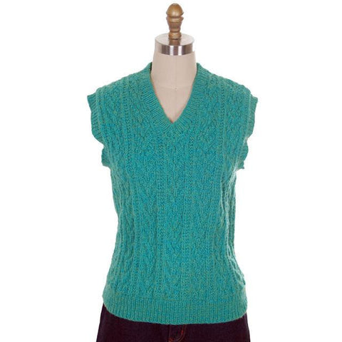 Vintage  Sweater Vest V Neck Sleeveless Blue Green Hand Knit Wool 1960s