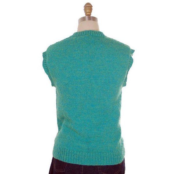 Vintage  Sweater Vest V Neck Sleeveless Blue Green Hand Knit Wool 1960s - The Best Vintage Clothing  - 3