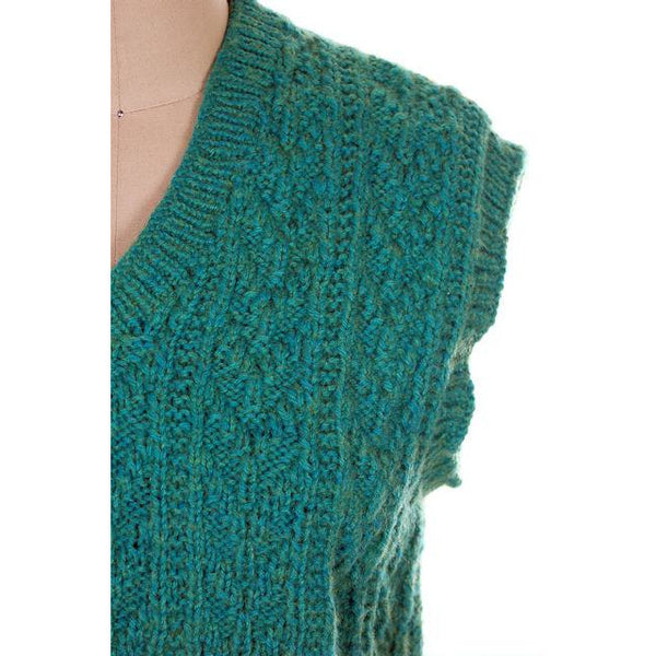 Vintage  Sweater Vest V Neck Sleeveless Blue Green Hand Knit Wool 1960s - The Best Vintage Clothing  - 4