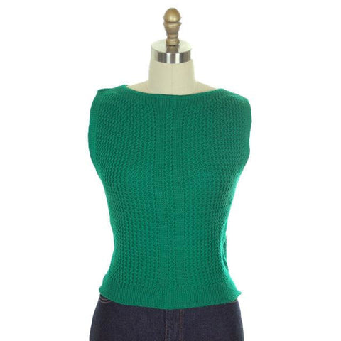 Vintage  Sweater Sleeveless Vest Boat Neck Green Hand Knit Wool 1960s S