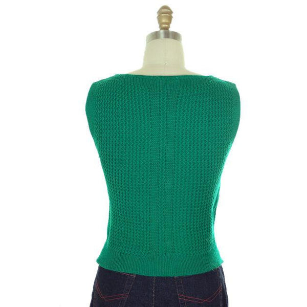 Vintage  Sweater Sleeveless Vest Boat Neck Green Hand Knit Wool 1960s S - The Best Vintage Clothing  - 3