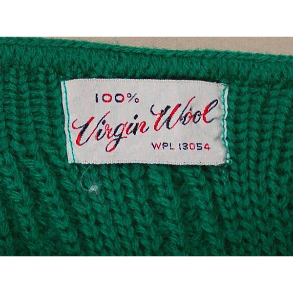 Vintage  Sweater Sleeveless Vest Boat Neck Green Hand Knit Wool 1960s S - The Best Vintage Clothing  - 5