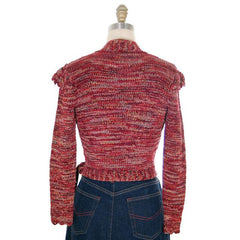 Vintage Wrap  Sweater Flavia Des Granges Fab Metallics Cranberry 1980s M - The Best Vintage Clothing  - 3
