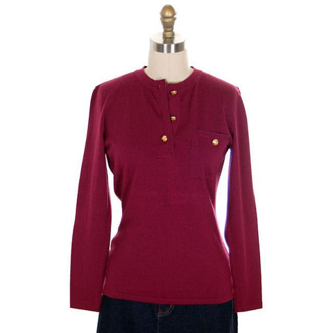 Classy Vintage Sweater Womens Ferragamo Wine Colored  Fine Wool Gold Accents 1980s Small