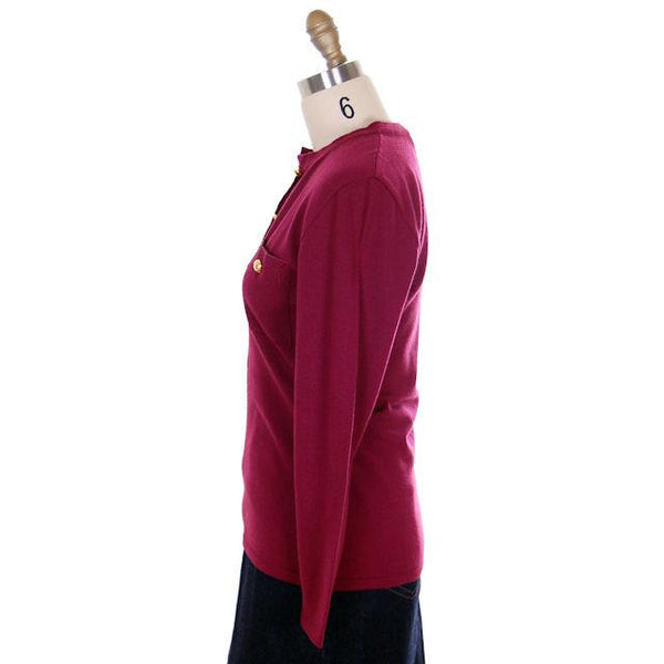 Classy Vintage Sweater Womens Ferragamo Wine Colored  Fine Wool Gold Accents 1980s Small - The Best Vintage Clothing  - 2