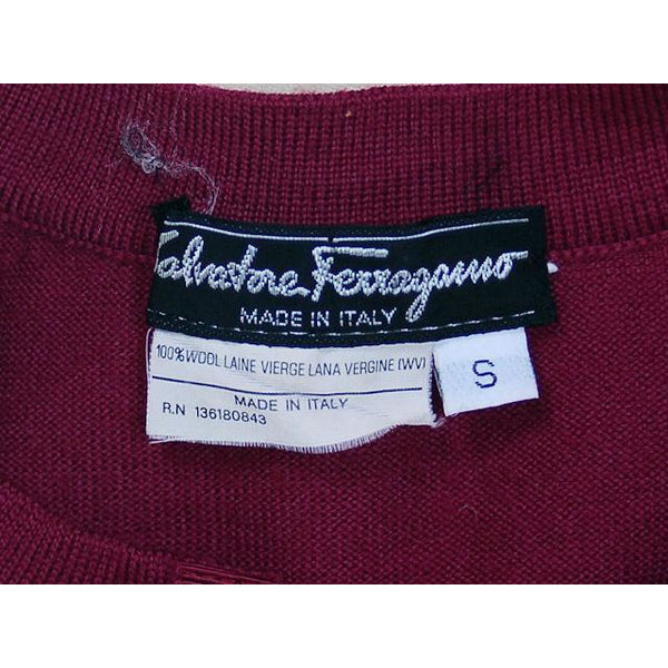 Classy Vintage Sweater Womens Ferragamo Wine Colored  Fine Wool Gold Accents 1980s Small - The Best Vintage Clothing  - 6