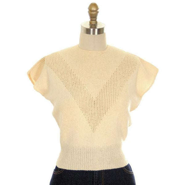 Vintage Ladies Sweater Hand Knit Rayon Warm Cream Neat Openwork 1950s Small - The Best Vintage Clothing  - 1