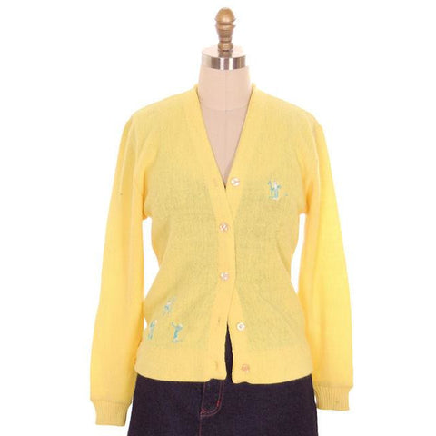 Vintage  Orlon Cardigan Yellow Golf Embroidery  M 1960s Haymaker
