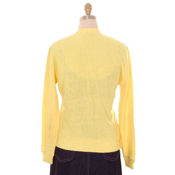 Vintage  Orlon Cardigan Yellow Golf Embroidery  M 1960s Haymaker - The Best Vintage Clothing  - 3