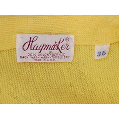 Vintage  Orlon Cardigan Yellow Golf Embroidery  M 1960s Haymaker - The Best Vintage Clothing  - 6
