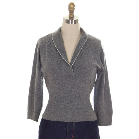 Vintage Cashmere Sweater Ladies Heather Gray B. Altman Shawl 1950s Small- Med - The Best Vintage Clothing  - 1