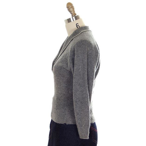 Vintage Cashmere Sweater Ladies Heather Gray B. Altman Shawl 1950s Small- Med - The Best Vintage Clothing  - 2