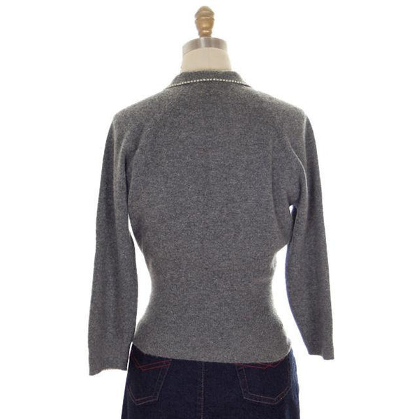 Vintage Cashmere Sweater Ladies Heather Gray B. Altman Shawl 1950s Small- Med - The Best Vintage Clothing  - 3