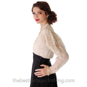 Vintage Blouse Amazing Leg O'Mutton Sleeves Rivoli Crystal Buttons 1940s - The Best Vintage Clothing  - 1
