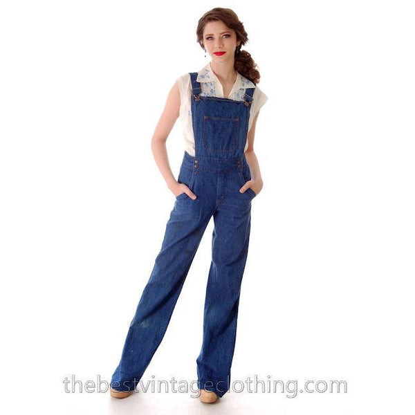 Vintage 1970s  Overalls Blue Denim 100% Cotton Womens Large - The Best Vintage Clothing  - 1