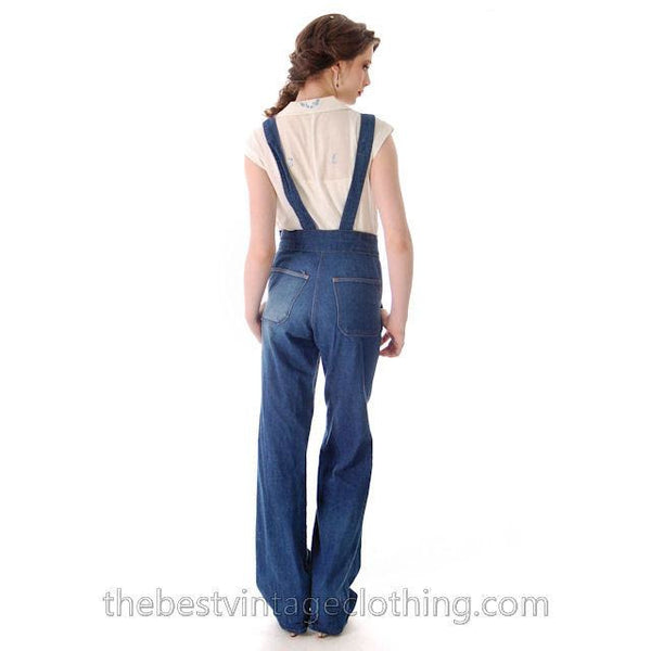 Vintage 1970s  Overalls Blue Denim 100% Cotton Womens Large - The Best Vintage Clothing  - 7