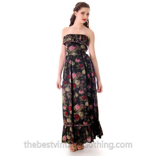 Vintage Tina Leser Strapless Gown Black Floral  Maxi 1960s Small - The Best Vintage Clothing  - 1