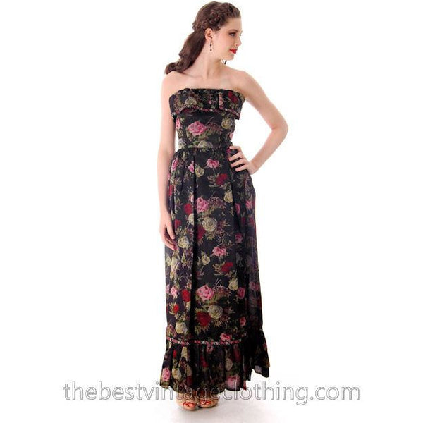 Vintage Tina Leser Strapless Gown Black Floral  Maxi 1960s Small - The Best Vintage Clothing  - 5