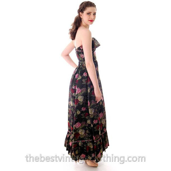 Vintage Tina Leser Strapless Gown Black Floral  Maxi 1960s Small - The Best Vintage Clothing  - 3