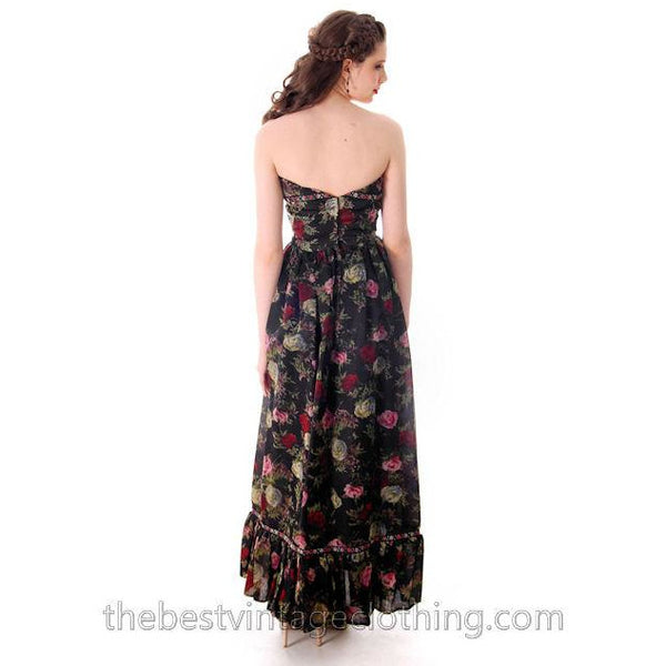 Vintage Tina Leser Strapless Gown Black Floral  Maxi 1960s Small - The Best Vintage Clothing  - 2