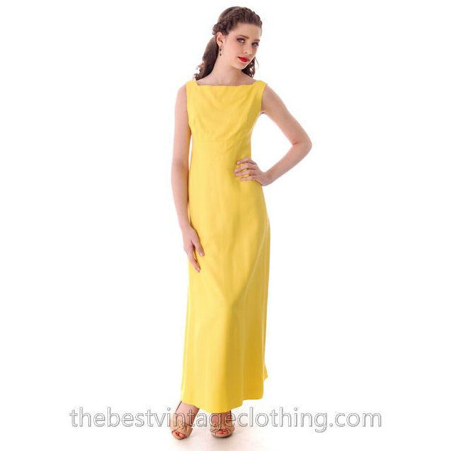 Vintage Summer Evening Gown Yellow Faille Maxi Small 1960s