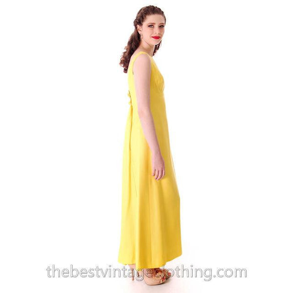 Vintage Summer Evening Gown Yellow Faille Maxi Small 1960s - The Best Vintage Clothing  - 4