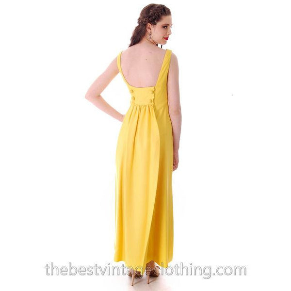 Vintage Summer Evening Gown Yellow Faille Maxi Small 1960s - The Best Vintage Clothing  - 2