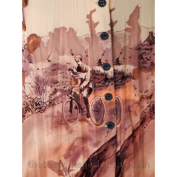 Vintage Landscape Bicycle Print Maxi Gown 1970s Small - The Best Vintage Clothing  - 5