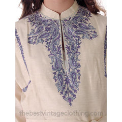 Vintage Delhiwala Ethnic Raw Silk Tunic Embroidered Lord & Taylor 1960s - The Best Vintage Clothing  - 4