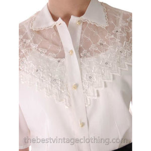 Vintage Acetate Blouse Sheer Yoke Embellished Rhinestones 1950s M - The Best Vintage Clothing  - 1
