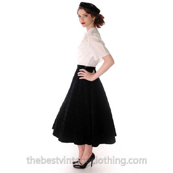 Vintage Circle Skirt Black Velvet Quilted 1950s Campus Casuals 28 Waist - The Best Vintage Clothing  - 4