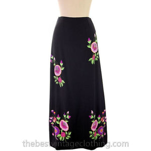 Vintage Embroidered  Maxi Skirt H. Fabrikant Wool Blend Black S - The Best Vintage Clothing  - 1