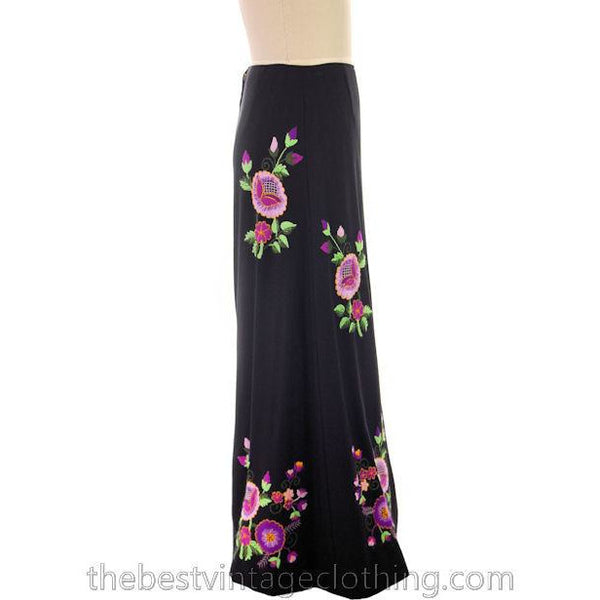 Vintage Embroidered  Maxi Skirt H. Fabrikant Wool Blend Black S - The Best Vintage Clothing  - 2