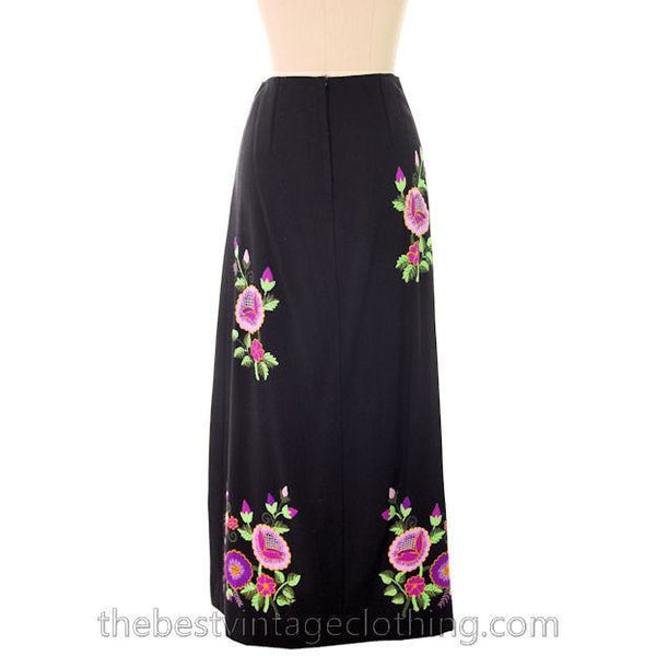 Vintage Embroidered  Maxi Skirt H. Fabrikant Wool Blend Black S - The Best Vintage Clothing  - 3