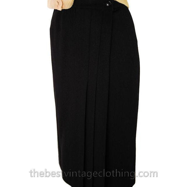 Vintage Black Wool Wrap Skirt Ruth Brooks 28 Waist  Classic - The Best Vintage Clothing  - 4