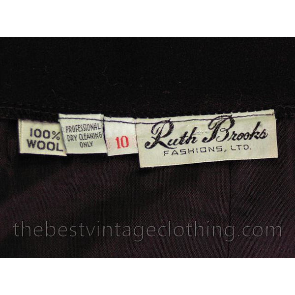 Vintage Black Wool Wrap Skirt Ruth Brooks 28 Waist  Classic - The Best Vintage Clothing  - 5