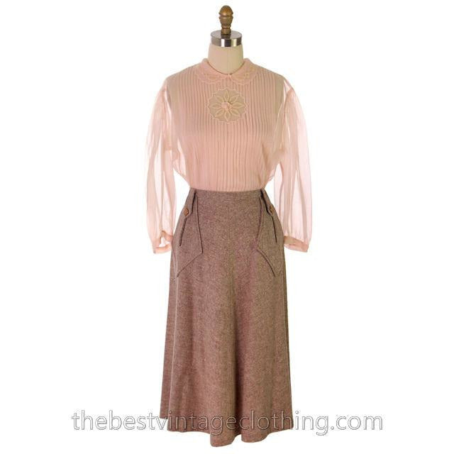 Vintage 1940s Skirt Taupe Wool Tweed A Line Retay Cool Pockets 28 Waist - The Best Vintage Clothing  - 1