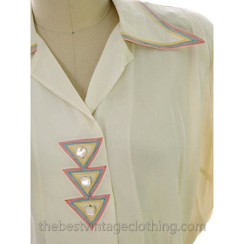 Vintage Rayon 1940s Blouse Ivory Art Deco Top Stitching M-L - The Best Vintage Clothing  - 1