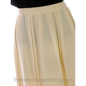 Vintage Ivory Wool Pleated Skirt Personal 1980s 30 Waist - The Best Vintage Clothing  - 1