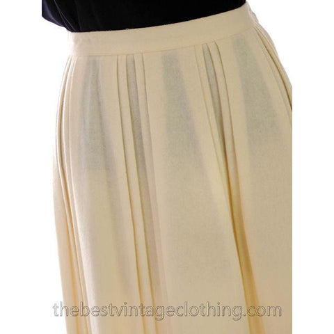 Vintage Ivory Wool Pleated Skirt Personal 1980s 30 Waist