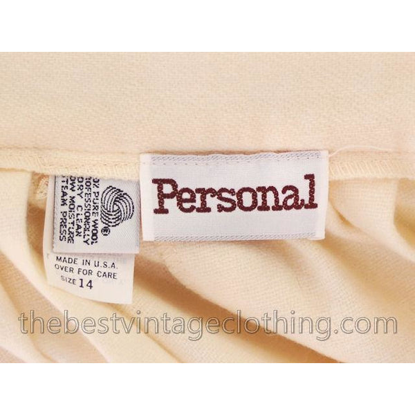 Vintage Ivory Wool Pleated Skirt Personal 1980s 30 Waist - The Best Vintage Clothing  - 5