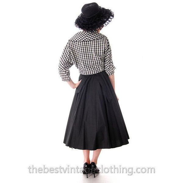 Vintage Linen Short Jacket Black And White Plaid 1950s 34 Bust - The Best Vintage Clothing  - 4