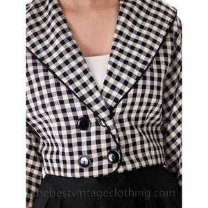 Vintage Linen Short Jacket Black And White Plaid 1950s 34 Bust - The Best Vintage Clothing  - 1